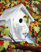 Blue Jay Images Prints - Blue Habitat Print by Andrew Wells