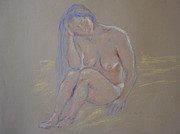 Figure Study Pastels Prints - Blue hair nude. Print by Agnieszka Praxmayer