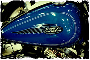Classic Cycle Prints - Blue Harley II Print by David Patterson