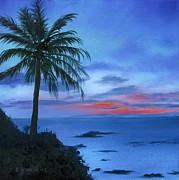 Blue Hawaiian Sunset Print by Cecilia  Brendel