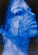 Color Purple Painting Posters - Blue Head Poster by Graham Dean