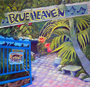 Benches Paintings - Blue Heaven New View by Kandy Cross