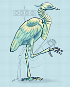 Robot Metal Prints - Blue Heron 3000 Metal Print by Vanessa Bates