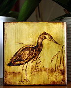 Cabin Wall Pyrography - Blue Heron Art Block Original  by Penny Hunt