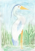 Daylight Drawings Posters - Blue Heron in the Tules Poster by Helen Holden-Gladsky