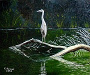 Fishing Creek Mixed Media Framed Prints - Blue Heron Framed Print by Kenny Henson