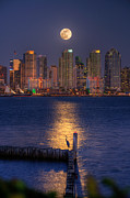 San Diego Bay Prints - Blue Heron Moon Print by Peter Tellone
