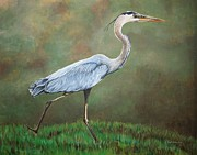 Pam Kaur Art - Blue Heron by Pam Kaur