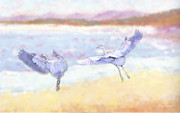 Diana Haronis Prints - Blue Herons At Sunrise Print by Diana Haronis