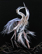 Lavonne Hand Framed Prints - Blue Herons Mating Dance Framed Print by LaVonne Hand