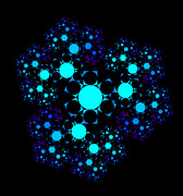 Blue Mushrooms Posters - Blue Hexagonal Fractal Poster by Chris Tetreault