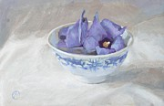 """indoor"" Still Life  Painting Posters - Blue hibiscus flower in chinese cup Poster by Anke Classen"