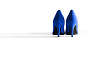 High Heeled Digital Art Posters - Blue High Heel Shoes Poster by Natalie Kinnear