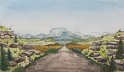 Drawing Painting Originals - Blue Hills Destination by Jeanne Ward