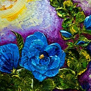 Lancaster Artist Prints - Blue Hollyhocks Print by Paris Wyatt Llanso