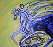 Light Greeting Cards Prints - Blue Horse Print by Genevieve Esson