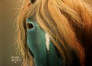 Head Pastels Posters - Blue Horse Poster by Heather Gessell