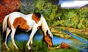 Comanche Paintings - Blue Horse by William T Templeton
