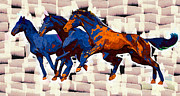 Blue Horses 7 Print by Victor Gladkiy