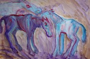 Closely Painting Framed Prints - Blue horses Framed Print by Hilde Widerberg