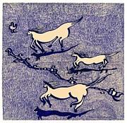 Blue Horses Print by Vince MacDermot