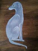 Lurcher Prints - Blue Hound Print by Deborah Sheehy