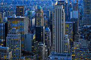Skylines Metal Prints - Blue Hour in New York City USA Metal Print by Sabine Jacobs