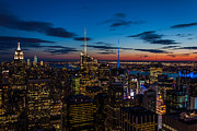 Manhattan Sunset Posters - Blue Hour in New York Poster by Steve Boyko