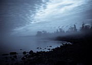 Lake Superior Framed Prints - Blue Hour Mist Framed Print by Mary Amerman