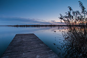 Dark Blue Prints - Blue hour on lake Print by Davorin Mance