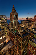 Nyc Rooftop Prints - Blue Hour On Standard Oil Building and NYC Skyline Print by David Giral