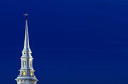 Weathervane Prints - Blue Hour Steeple Print by Jeff Sinon