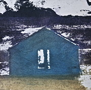 Landscape Paints Mixed Media Posters - Blue House Poster by Deborah Talbot - Kostisin