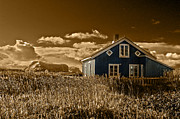 Earth Tone Prints - Blue House Print by Finn Olav Olsen
