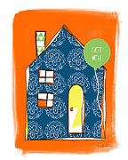 Chimney Posters - Blue House Get Well Card Poster by Linda Woods
