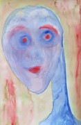 Nervous Paintings - Blue hulder by Hilde Widerberg