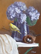 Blue Hydrangeas And Yellow Finch Print by Viktoria K Majestic