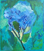 Chicago Il Paintings - Blue Hydrangia by Harry Hartshorne Jr