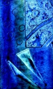 Monoprint Framed Prints - Blue I Framed Print by John  Nolan