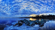 Blue Ice At Sunset Print by Bill Caldwell -        ABeautifulSky Photography