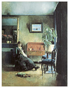 Harriet Posters - Blue Interior Poster by Harriet Backer