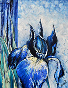 Impasto Oil Paintings - Blue Iris by Mariana Pittman