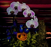 Etc. Art - Blue Iris  Orange Rose And Orchids At Sunset With An Ocean View  by Leslie Crotty