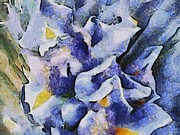 Impressionist Mixed Media - Blue Iris Up Close by Kim Ezra Shienbaum