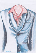 Mens Drawings Prints - Blue Jacket Print by Dallas Roquemore