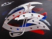 Hockey Paintings - Blue Jackets by Mac Worthington