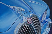 Badge Painting Framed Prints - Blue Jaguar 3.8 Litre Framed Print by Anna Ruzsan
