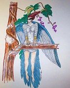 Guides Drawings Posters - Blue Jay Fairy Spirit Poster by Linda Stoughton