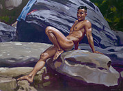 Nude Male Paintings - Blue Jeans by Douglas Simonson