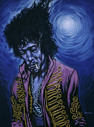 Psychedelic Metal Prints - Blue Jimi Metal Print by Gary Kroman